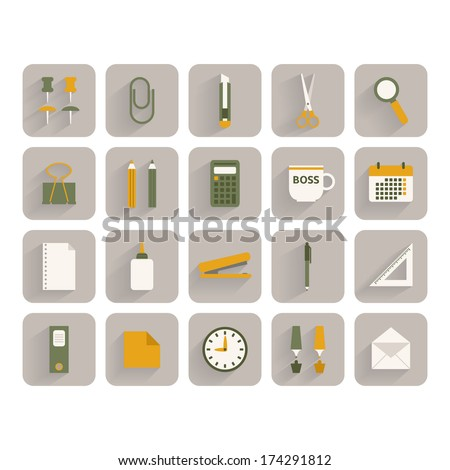 Set of office stationery icons