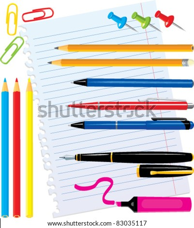 Set of office stationery - pens, color pencils, marker, paper clips, thumbtacks - stock vector