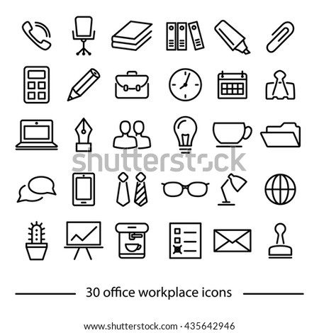 set of office workplace line icons - stock vector