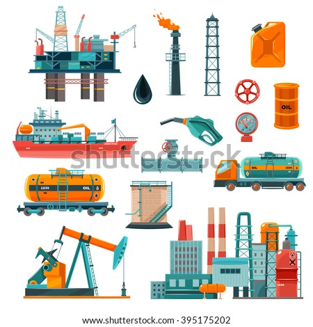 Set of oil industry production transportation extracting cartoon icons vector illustration - stock vector