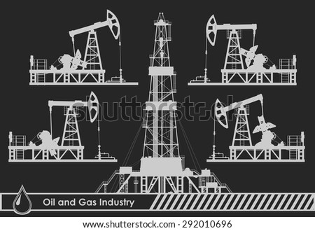 Set of oil pumps and rig silhouettes. Detail vector illustration.