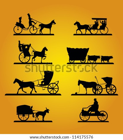 Set of old carriages. Horse-drawn wagons. - stock vector
