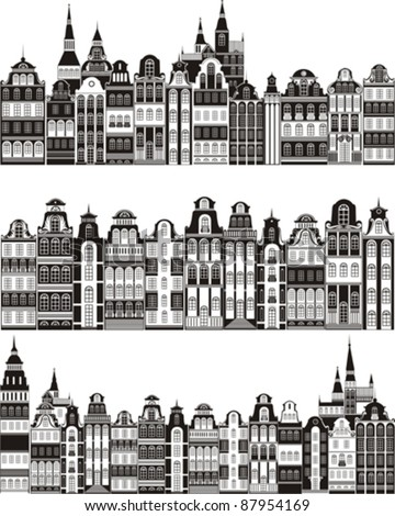 Set of old cities  isolated on White background. Vector illustration - stock vector