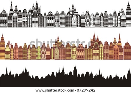 Set of old cities silhouette isolated on White background. Vector illustration - stock vector