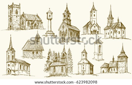 Set Of Old Country Churches Hand Drawn Vector Illustration
