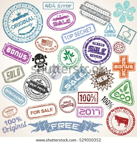 Set of Old Grunge Stamps on Paper Sheet. Isolated Vector Design Elements Ready for Project.