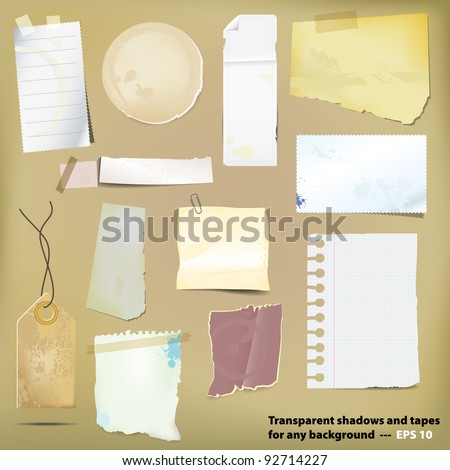 Set of old grungy paper stickers and scraps. Vector file. - stock vector
