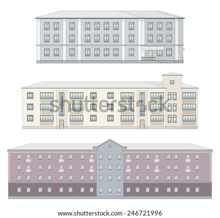 Set of old historical building facades isolated on white background, coloured, detailed. - stock vector