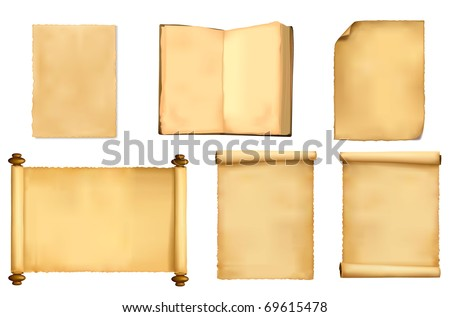 Set of old paper sheets. Vector illustration. - stock vector
