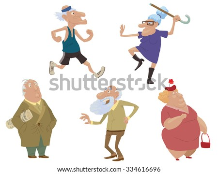 Set of old people doing sport exercises or just standing, vector - stock vector