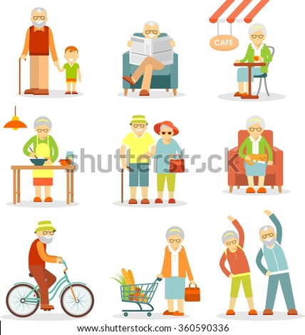 Set of old people in different situations. Senior man and woman activities - walking, cooking, shopping, cycling, recreation - stock vector