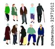 Set of Old People Vector - stock vector