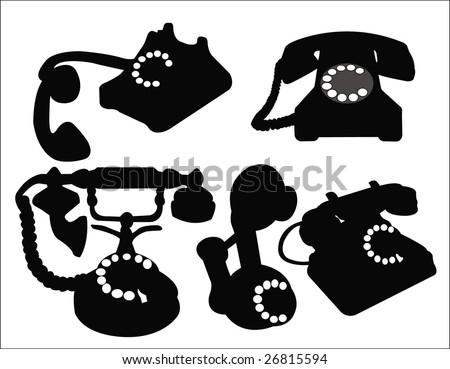 set of old phone vector - stock vector