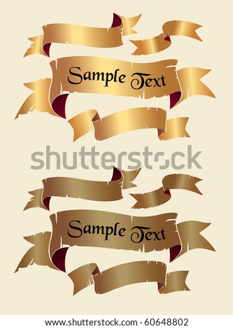 Set of old retro banners or ribbons (vector). historic vintage style