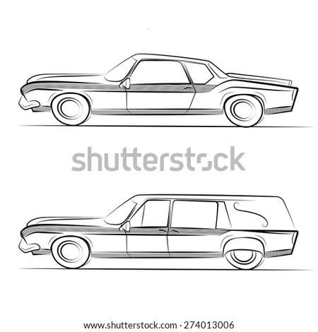 Set of old retro cars vintage drawing style. Vector car front view. Vector illustration - stock vector