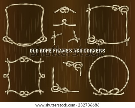 Set of Old Rope Frames and Corners in Different Unique Styles on Abstract Brown Background. - stock vector