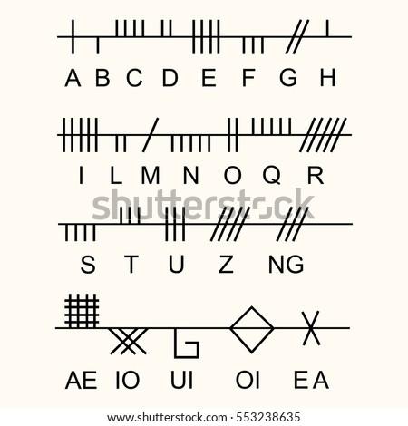 Set Old Sacred Celtic Ogham Alphabet Stock Vector Royalty Free