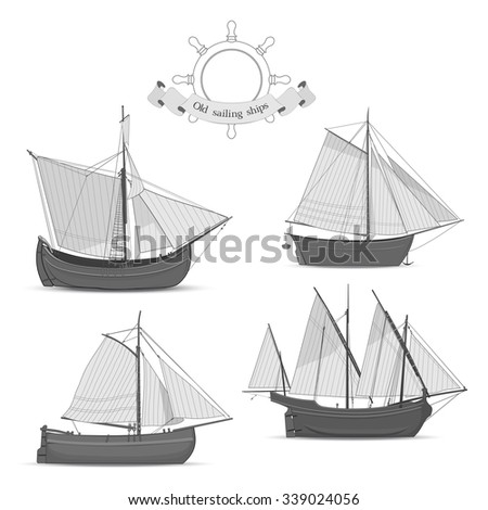 Set of old sailing ships on white background - stock vector