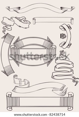 Set Of Old Vintage Scroll Banners - stock vector