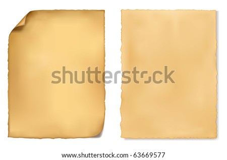 Set of old worn papers. Vector - stock vector
