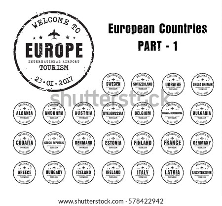 Italy passport stamp stock images royalty free images vectors set of old worn stamps passport with the name of the european countries templates sign pronofoot35fo Choice Image