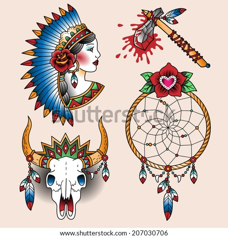 Set of oldschool tattoos. Native american symbols  - stock vector