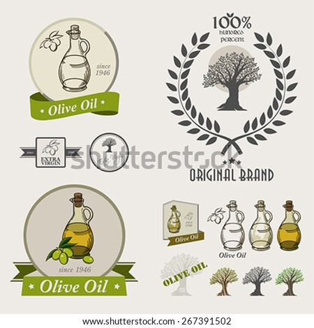 Set of olive oil labels,logos badges and design elements. 