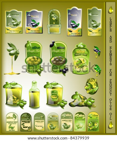 set of olives oil labels - stock vector