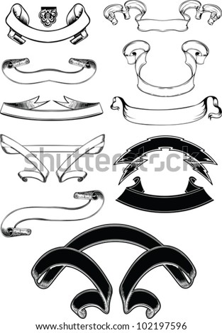 Set Of One Color Old Vintage Scroll Banners - stock vector