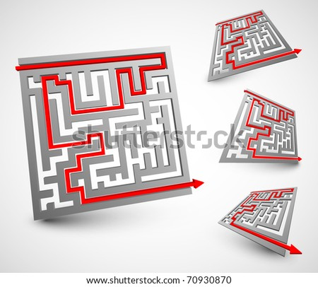 Set of one 3d labyrinth from different views - stock vector