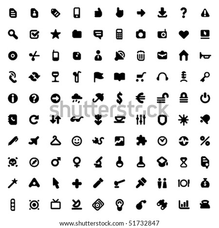 Set of one hundred icons for website interface, business designs, finance, security and leisure. Vector illustration. - stock vector