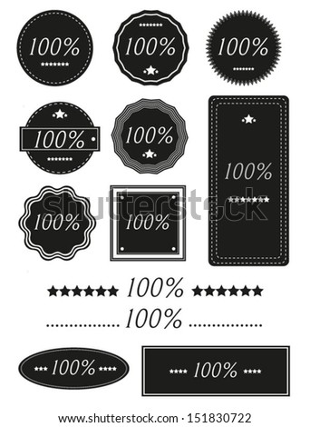 Set of  One Hundred Percent Badges,Label Isolated On White - 100%  - stock vector