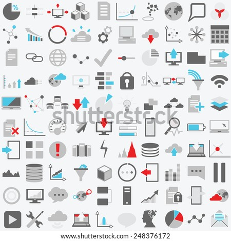 Set of one hundred technology vector icons. Data analysis,statistics, social, web and technology icons over white background. - stock vector