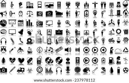 Set of 120 (one hundred twenty) vector icons of business, media, ecology and medical - stock vector
