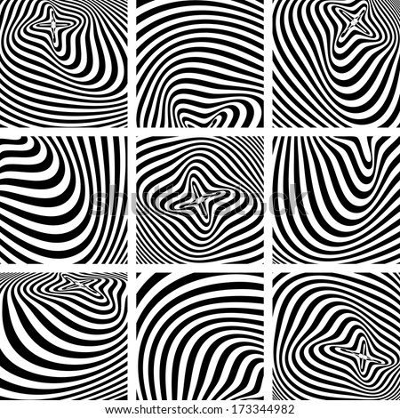 Set of op art textures in zebra pattern design. Vector art. - stock vector