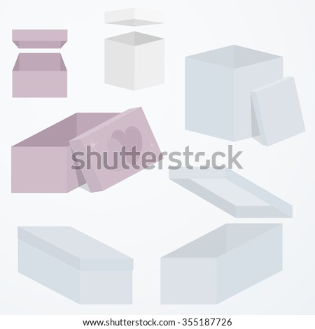 Set of open and closed 3d gift boxes packaging in different perspectives and shapes, flat colors. Sensual blue and pink colors. template. vector illustration