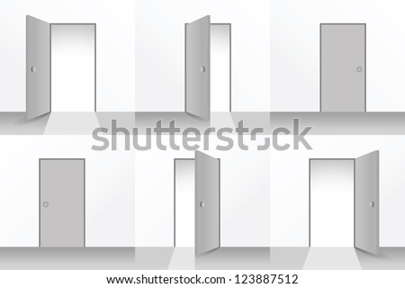 Set of open and closed doors - illustration - stock vector