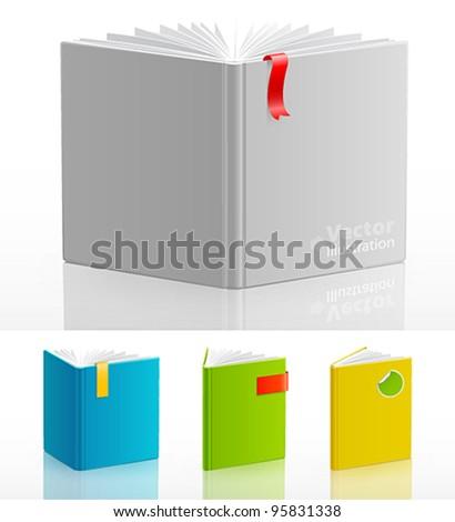 Set of open standing books. Vector illustration. - stock vector