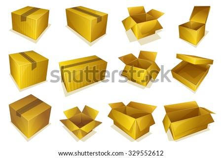 Set of 12 opened and closed cardboard parcel icon - stock vector