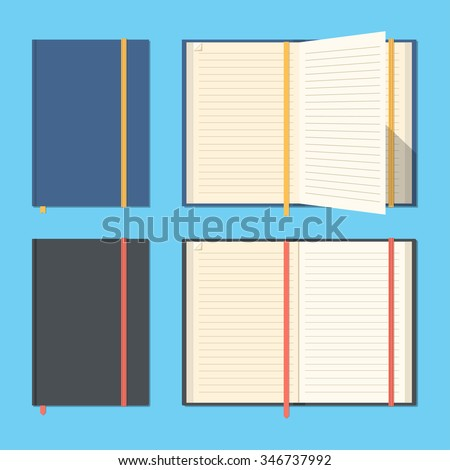 Set of opened and closed notebooks.Notepads for business and important notes.Personal organizer. Diary set. Flat design. Blank pages. Vector illustration - stock vector