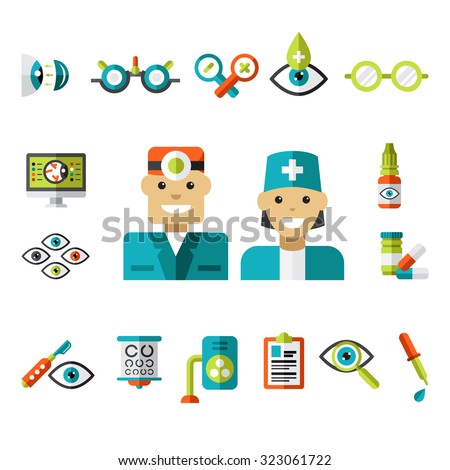 Set of ophthalmology icons in flat style. Collection of vector illustrations - stock vector