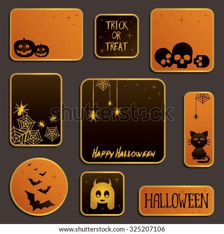 set of orange and black halloween label decorations - stock vector