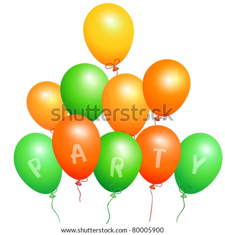 Set of orange and green party balloons,  EPS10.