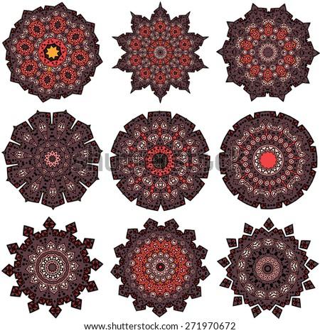 Set of orange-brown mandalas. Drawing of a nine orange-brown mandalas in ethnic style - stock vector