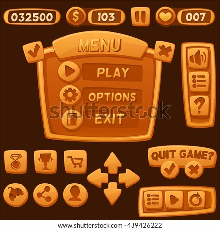Set of orange cartoon buttons for casual games. Graphic user interface, vector illustration.