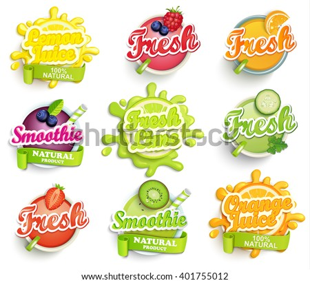 Set of orange, lemon, lime juece,smoothie and fresh  labels splash. Lettering, splash and blot design, shape creative vector illustration. - stock vector