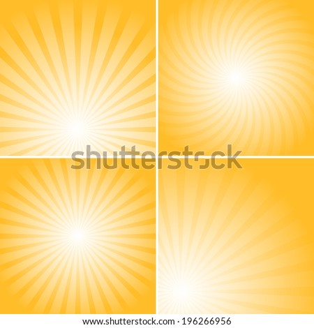 Set of orange shiny backgrounds for design. Different burst sources - center, corner, bottom. - stock vector