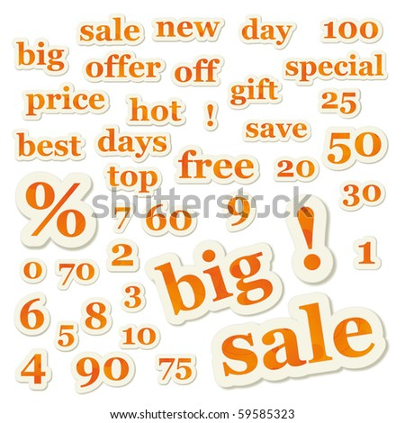 Set of orange vector sale signs and numbers - stock vector