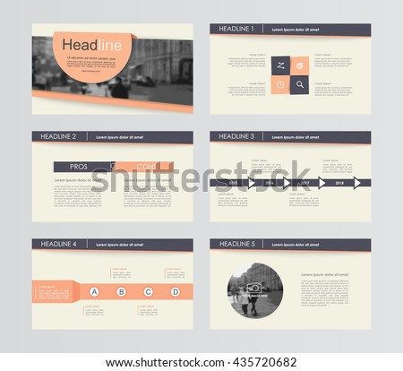 Set of orange with black infographic elements for presentation templates. Leaflet, Annual report, book cover design. Brochure, layout, Flyer template design.