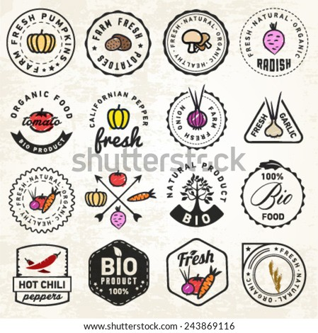 Set of Organic and Bio Vegetables Badges in Vintage Style - stock vector